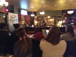 Gord Mitchell, general manager of the RC Harris water treatment plant, speaks to Blue Drinks Toronto during a pub talk (February 2018)