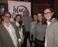 Blue Drinks Toronto organizers with Gord Mitchell, RC Harris Water plant general manager, at a pub talk (February 2018)